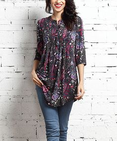 This Reborn Collection Black & Navy Paisley Notch Neck Pin Tuck Tunic by Reborn Collection is perfect! #zulilyfinds