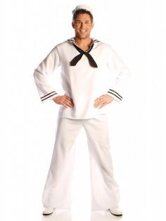 Dock your ship and storm the party in this sailor costume. What's sexier than a sailor in a white suit? This sexy white sailor outfit features bell bottom pants and a hat to comp Sailor Halloween Costumes, Spirit Halloween, Adult Halloween, Halloween Stuff, Halloween Ideas, White Costumes, Cool Costumes, Adult Costumes, Trapper Keeper