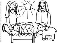 preschool picture to color manger scene with mary joseph baby jesus and lamb