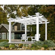 """Ashley's Arbors Providence 8' X 8' Pergola by Ashley's. $1600.00. Durable white vinyl adds a clean, bright accent Weather-resistant, UV-protected and rust-resistant for lasting good looks Assembly required Posts: 5"""" x 5"""" Inside post-to-post dimensions: 96""""L x 96""""W (outside 106"""") Overall filter dimensions: 129""""L x 129""""W x 94 7/10""""H Weight: 186 lbs. Warranty: 20 years"""
