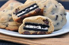 How yummy do these look!  Oreo cookie within a chocolate chip cookie