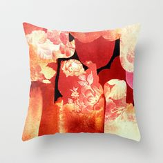torn floral Throw Pillow by clemm - $20.00