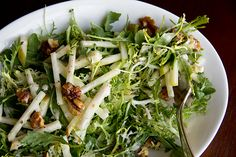 Honey Crisp Apple Salad with Candied Walnuts and Sweet Spiced Cider Vinaigrette by Rochelle Roasted Walnuts, Candied Walnuts, Winter Salad, Fall Salad, Honey Crisp, Main Food Groups, Apple Salad Recipes, Honeycrisp Apples, Spiced Cider