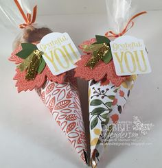 Thanksgiving Treat Holders using Stampin' Up! products. Debbie Henderson, Debbie's Designs.