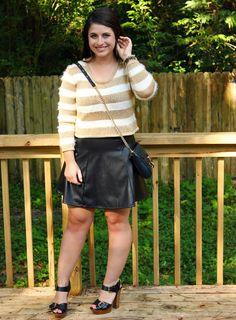 La Petite Fashionista: Striped Sweater & Leather Skirt