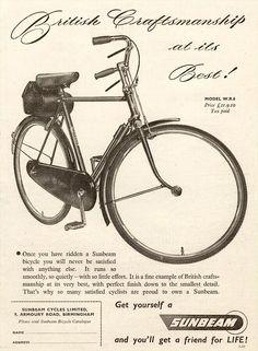 """British Craftsmenship at its Best!"" Sunbeam Cycles advert, 1952"