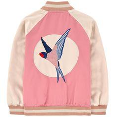 Swallow print bi-material teddy jacket - 152129