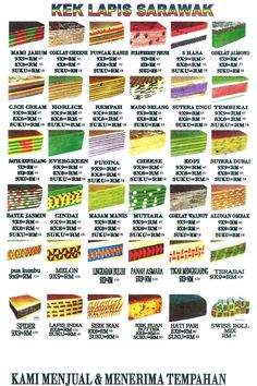 designs for the indonesian layered cake lapis legit. It is a dense wet cake, baked layer-by-layer from above-heat under an electric broiler. The amount of each new layer of batter is controlled by placing the cake tin on a food scale as it is poured, before re-introducing it back under the broiler. Sarawak is famous for this cake.