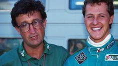 Jordan team boss, Eddie Jordan with his new driver Michael Schumacher, who…