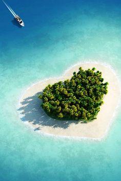 Tavarua Island Resort, Fiji. Manmade heart shaped island <3