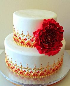 this cake was inspired by the intricate embroidery on a sari