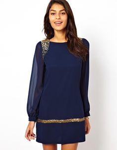 Image 1 ofLittle Mistress Embellished Shoulder Shift Dress with Long Sleeve