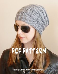 Knit hat pattern slouchy beanie knitting pattern https://www.etsy.com/listing/183373927/instant-download-knitting-pattern