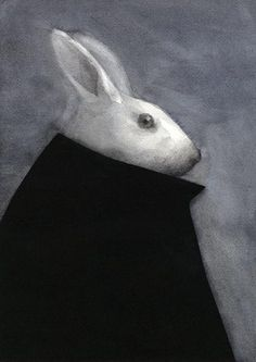 Japanese contemporary art by Akitaka Ito. Looks like Bunnicula. perfect for Halloween. Toys Drawing, Art Drawings, Japanese Contemporary Art, Japanese Art, Illustrations, Illustration Art, Rabbit Art, Giant Rabbit, White Rabbits