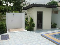 outdoor bathrooms with toilets   The shower is finished with white tiles, a new shower system, hand ...