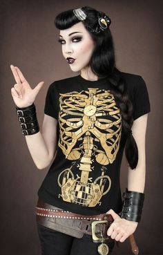 "T-shirt Gothique Restyle ""Steampunk Mechanical Skeleton"""