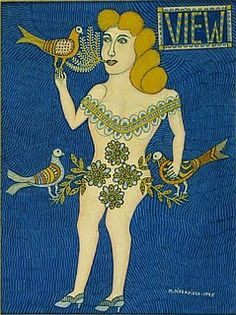 by Morris Hirshfield...(1945, Oil on canvas, Signed and dated, lower right; and titled, upper right, Reproduced on the cover of View magazine, October 1945).