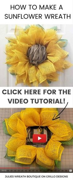Learn how to make a sunflower wreath using poly burlap. Watch this in depth vide. : Learn how to make a sunflower wreath using poly burlap. Watch this in depth video tutorial on how to make a sunflower burlap wreath. Burlap Crafts, Wreath Crafts, Diy Wreath, Diy Spring Wreath Burlap, Wreath Ideas, Tulle Wreath, Sunflower Burlap Wreaths, Burlap Flowers, Floral Wreaths