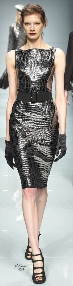 Silver croc print mini dress with matching gloves for Roccobarocco