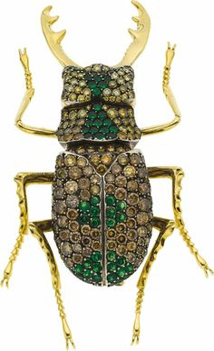 Huge Bug Colored Diamond, Diopside, Gold Brooch, by Andreas Zadora