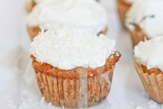 Grain-free carrot cupcakes with honey cream cheese frosting.  GAPS/SCD-friendly!