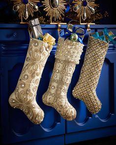 Kim Seybert Arabesque, Pearl Cuff, & Shimmer Grid Christmas Stockings