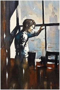 Figure at Window - Study Thomas W Schaller - Pencil and Watercolor