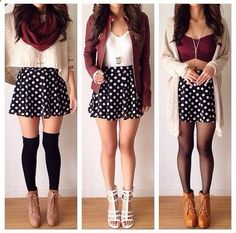 -cute burgundy scarf, white crop top sweater, black/white polka dot skirt, over the knee black high socks, beige booties; red leather jacket, white shirt, black/white polka dot skirt, white heels; beige cardigan, burdundy crop top, black/white polka dot skirt, black tights, tan booties spring/fall outfit