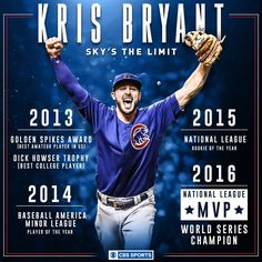 Kris Bryant is the player in MLB history to win ROY & MVP in consecutive seasons! And the third to win the ROY, WS and MVP in his first 2 seasons. And the first player to win all four consecutively. Chicago Cubs Baseball, Chicago Bears, Cub Sport, Cubs Players, Chicago Cubs World Series, Golden Spike, Cubs Win, Go Cubs Go, Sports