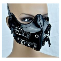 PVC STRAP BUCKLE MOTORCYCLE FACE MASK HORROR COSPLAY ANIME BIKER... ❤ liked on Polyvore featuring costumes, biker costume, goth costume, horror costumes, animal costumes and cosplay costumes