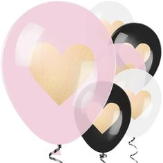 Ballonnen everyday black gold hart (6st)