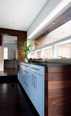 love the mod white cabinets and hardware with the dark wood
