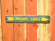 PICNIC AREA Trail Sign, Rustic Directional Arrow Arrowhead, Camping Hunting Fishing Nature Signs, Rustic Wall Decor, Rustic Wood Signs by DesertGrain on Etsy
