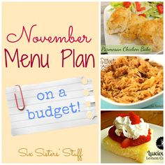 November Menu Plan on a Budget #sixsisters #menuplan #budget