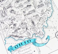 Ohio - Vintage Map of Ohio - A Fun and Funky Little 1930s Vintage Picture Map to Frame