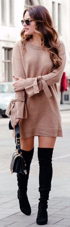 #winter #outfits brown long-sleeved dress