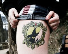 Incredible Wicked cameo tattoo with Elphaba and Glinda.