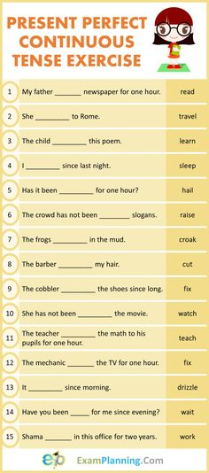 Present Perfect Continuous Tense Exercises - ExamPlanning % Tenses English, English Grammar For Kids, Teaching English Grammar, English Lessons For Kids, English Language Learning, English Worksheets For Kindergarten, English Grammar Worksheets, English Tenses Exercises, Exercises On Tenses