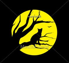 Stock Photo Silhouette Cat At Moon Black Background - Image ...