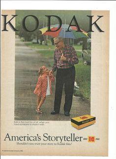 1980 Advertisement Kodak Moment Rainy Day Grandfather Father Daughter Grandaughter Studio Photography Americas Storyteller Wall Art Decor