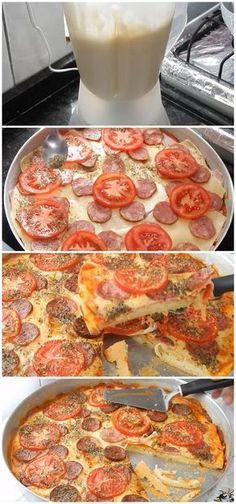 Fast Blender Pizza - Practical and Easy to Make - Receitas - Pizza Recipes, Snack Recipes, Cooking Recipes, Breakfast Pizza, Mixer, Cravings, Healthy Snacks, Food And Drink, Tasty