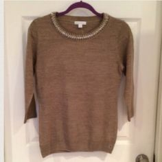 **NEW! jeweled Neckline Sweater classic NWT Beige sweater, size small, bejeweled at neckline 💜💜Great condition 10/10 BRAND NEW with tags  🎉Price is Negotiable -- Use offer button only   🚫🚫No Trades  ✈️NEXT DAY SHIPPING on orders placed Sunday-Thursday with updates on when we drop off purchase New York & Company Sweaters