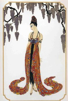 Feather Gown Art Deco by Erte