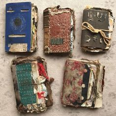 ALL 5 SOLD and going to good homes 😍👍🏻😃💓😘Thank you! These old vintage passports turned into personal visual journals are very special… Journal Covers, Art Journal Pages, Junk Journal, Book Covers, Handmade Journals, Handmade Books, Handmade Notebook, Fabric Journals, Art Journals