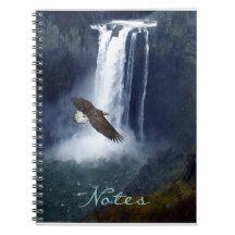 Flying Bald Eagle & Waterfall Wildlife Notebook