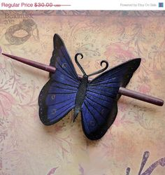 Indigo Butterfly Leather Hair Slide Or Barrette. $27.00, via Etsy.