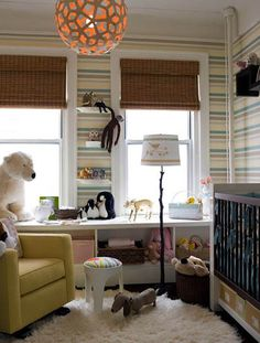 Love the unique chandelier in this nursery. #lighting #nursery #design