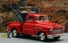 1:32 KINSMART 1955 CHEVY 3100 STEPSIDE TOW TRUCK (Red) Perfect for Diorama use #Kinsmart #Chevrolet