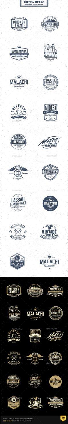 Trendy Retro Badges and Logos Vol.03 - Badges & Stickers Web Elements
