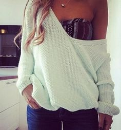 I'm forever having my sweaters falling off. This is such a cute idea to wear a bandu underneath!